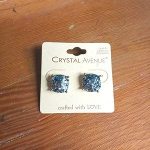 Blue Glitter Stud Rounded Square Gold Earrings